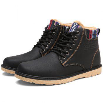 PU Leather Tie Up Striped Pattern Boots - BLACK 44