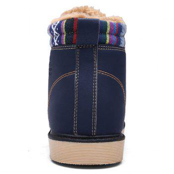 PU Leather Tie Up Striped Pattern Boots - 42 42