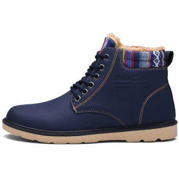 PU Leather Tie Up Striped Pattern Boots - DEEP BLUE 42