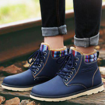 PU Leather Tie Up Striped Pattern Boots - DEEP BLUE DEEP BLUE