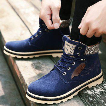 Stitching Colour Block Tie Up Boots - 44 44