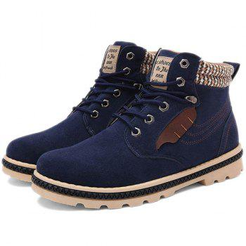 Stitching Colour Block Tie Up Boots - DEEP BLUE DEEP BLUE