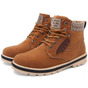Stitching Colour Block Tie Up Boots - LIGHT BROWN 41