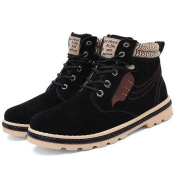 Stitching Colour Block Tie Up Boots - BLACK 43