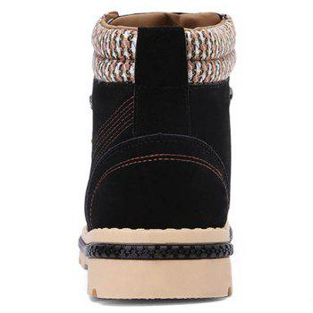 Stitching Colour Block Tie Up Boots - 42 42