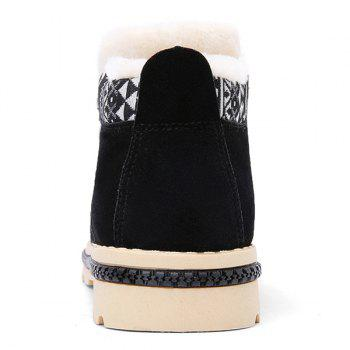 Zipper Colour Block Zigzag Boots - BLACK BLACK