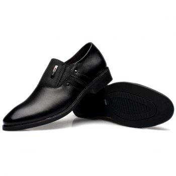 Metal Pointed Toe PU Leather Formal Shoes - BLACK 44