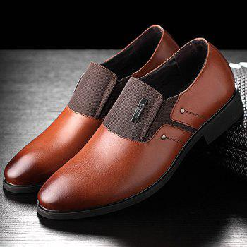 Metal Pointed Toe PU Leather Formal Shoes - BROWN BROWN
