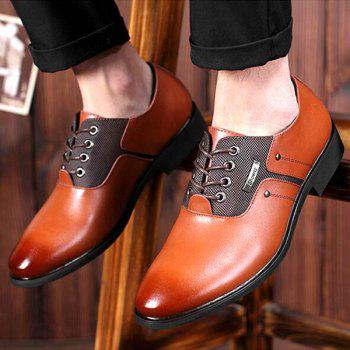 Tie Up PU Leather Metal Formal Shoes - 42 42