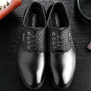 Tie Up PU Leather Metal Formal Shoes - BLACK BLACK