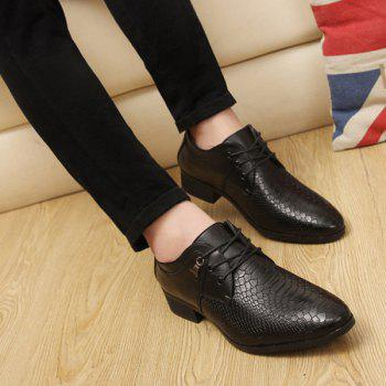 Metal Lace Up Embossing Formal Shoes - BLACK BLACK