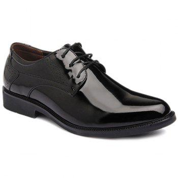 Lace Up Patent Leather Engraving Formal Shoes - BLACK 44