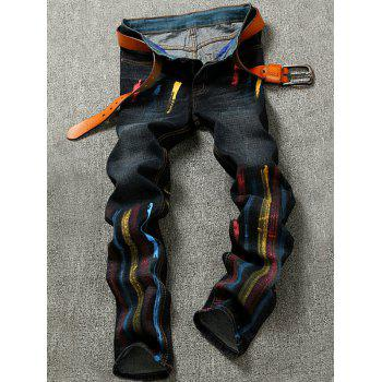 Pocket Colorful Striped Zipper Fly Jeans