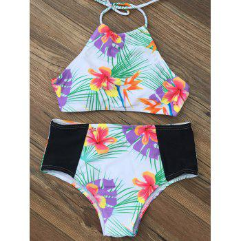 Halter Tropical Print High Waist Bikini Set