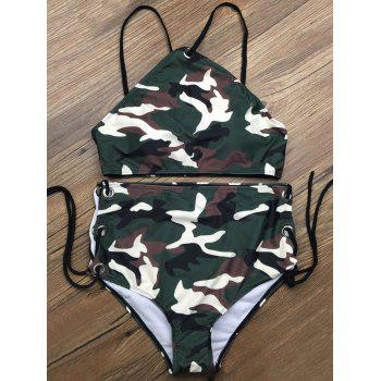 Lace Up Camouflage Two Piece High Waisted Bikini