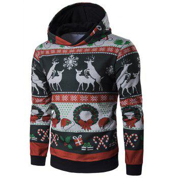 Christmas Reindeer and Snowflake Print Long Sleeve Hoodie