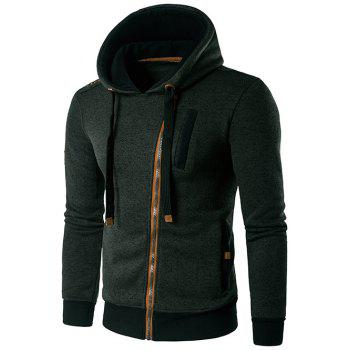 Hooded Edging Design Oblique Zip-Up Hoodie - BLACKISH GREEN BLACKISH GREEN