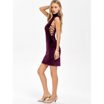 Velvet Criss Cross Zip Short Formal Dress - Violet Foncé L