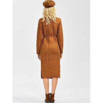 Turtleneck Cable Knit Sweater Dress With Pockets - EARTHY ONE SIZE