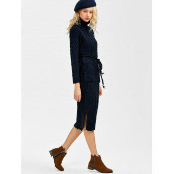 Turtleneck Cable Knit Sweater Dress With Pockets - DEEP BLUE ONE SIZE