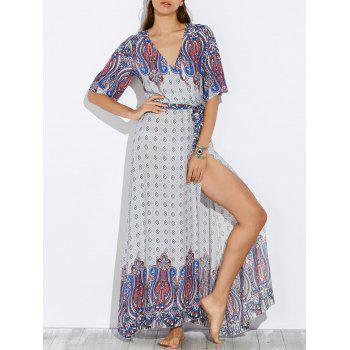 Plunge High Slit Maxi Boho Dress