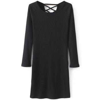 Long Sleeve Ribbed Lace Up Mini Jumper Dress