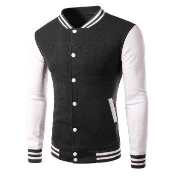 Stand Collar Colorblock Panel Baseball Jacket