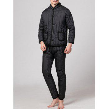 Stand Collar Button Up Pocket Quilted Jacket with Pants