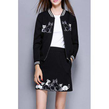 Cat Embroidered Jacket With Skirt