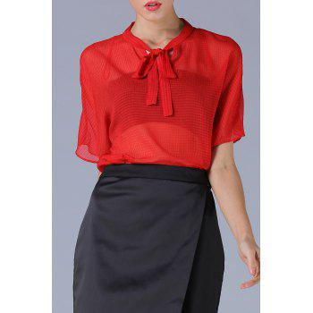 Bow Tie Chiffon High Low Blouse