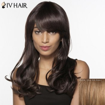 Siv Human Hair Long Inclined Bang Fluffy Wavy Wig