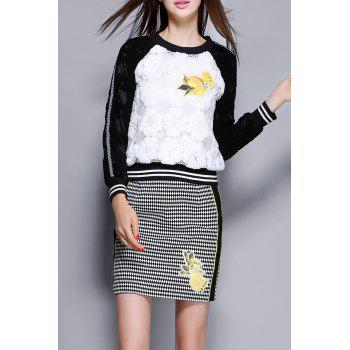 Baseball Lace Sweatshirt With Mini Skirt