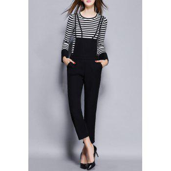 Stripe Sweater With Suspender Pants