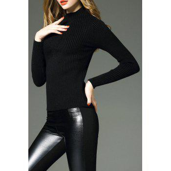 Stand Up Collar Pullover Sweater - BLACK ONE SIZE
