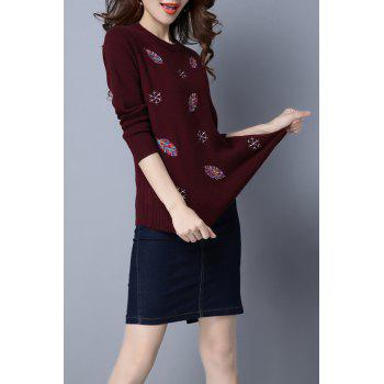 Snowflake Embroidered Christmas Sweater - WINE RED M