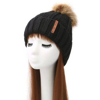 Pom Ball Striped Knitted Beanie