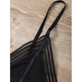 Adjustable Straps Cute Bikini Top - BLACK BLACK