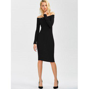 Off Shoulder Long Sleeve Bodycon Formal Dress