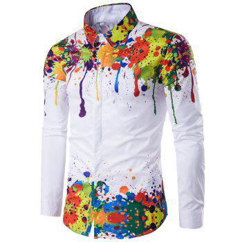 Turndown Collar Colorful Splatter Paint Pattern Long Sleeve Shirt