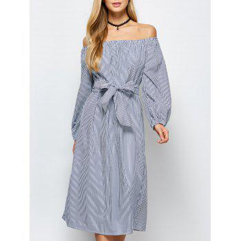 Midi Off Shoulder Stripe Casual Dress