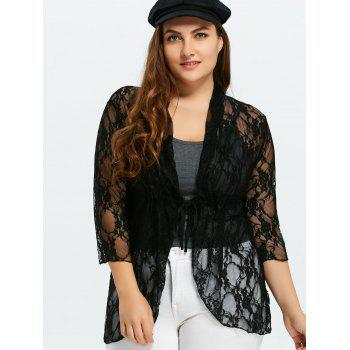 Plus Size Drawstring Asymmetric Lace Jacket - BLACK 5XL