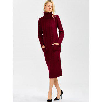 Long Sleeve Turtleneck Cable Knit Sweater Dress - WINE RED ONE SIZE