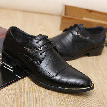 Lace Up Metal PU Leather Formal Shoes - BLACK 43