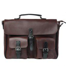Retro PU Leather Buckle Straps Briefcase