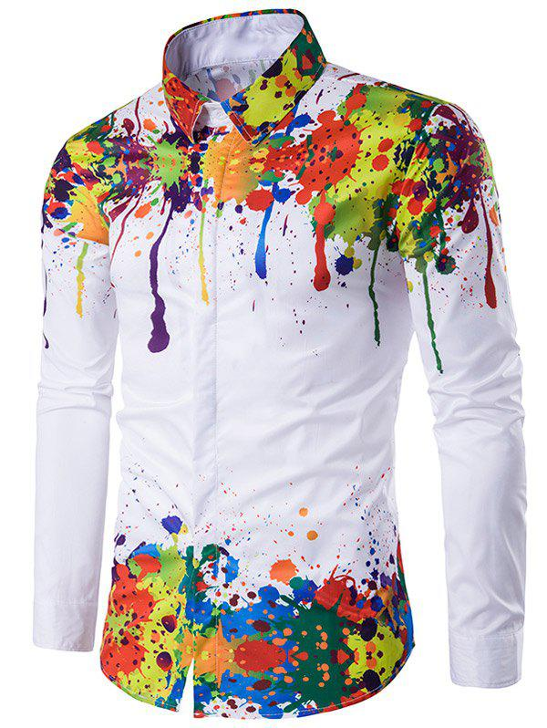 Turndown Collar Colorful Splatter Paint Pattern Long Sleeve Shirt - WHITE L