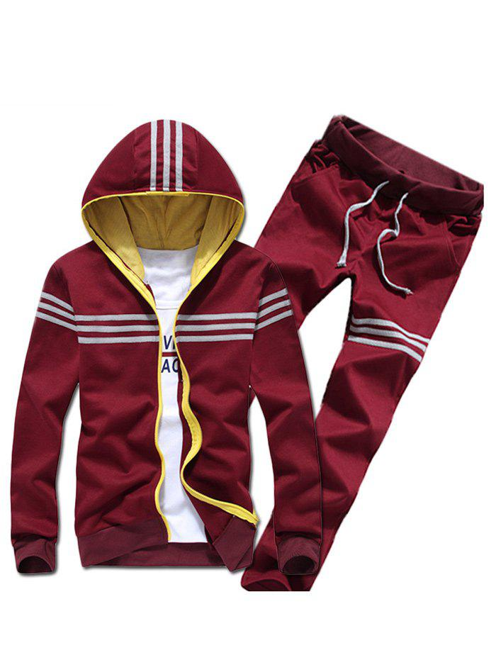 Contrast Zip Striped Hoodie and Drawstring Pants Twinset