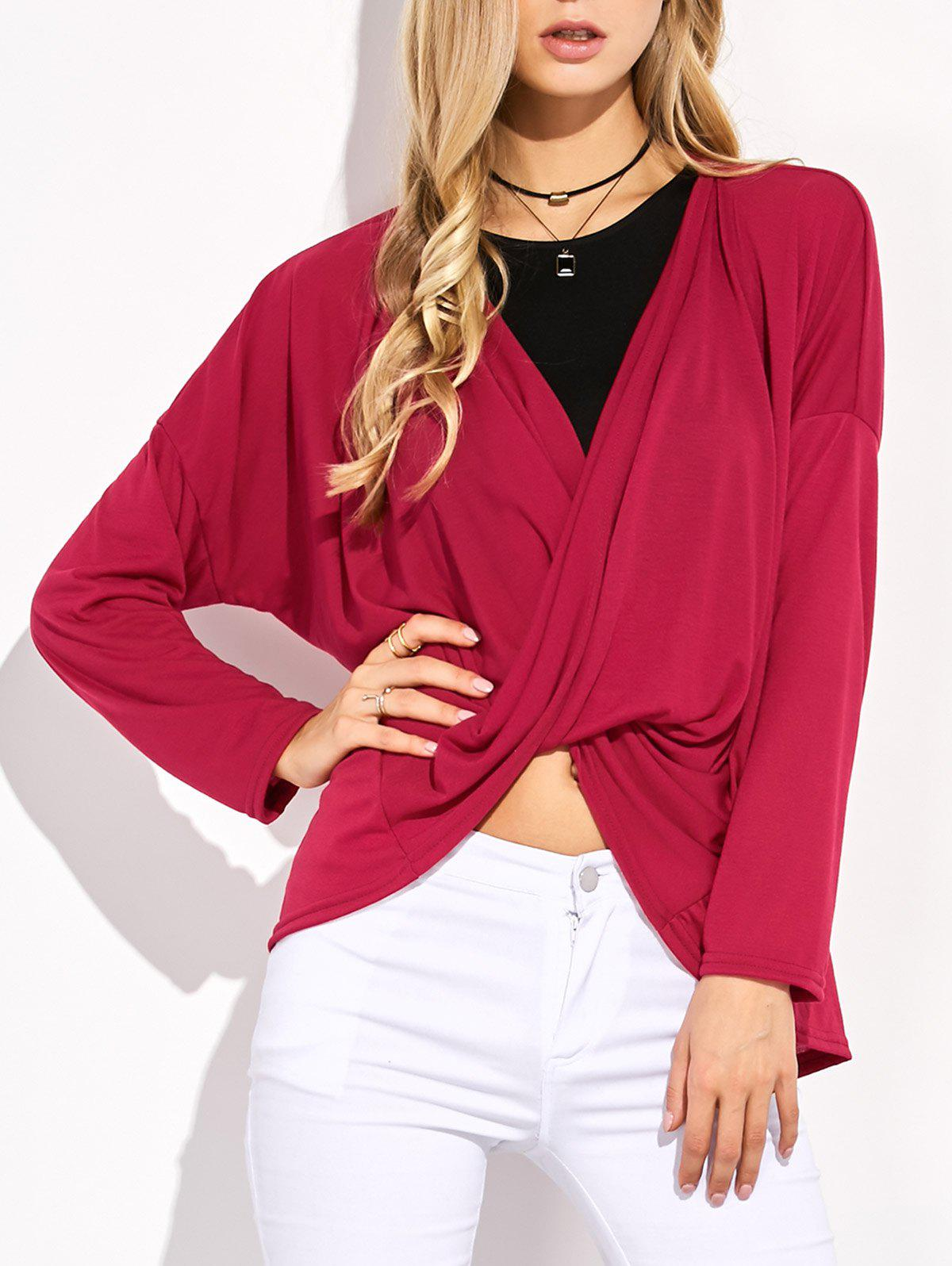 Asymétrique Dolman Sleeve Cross Criss Tee - bordeaux M