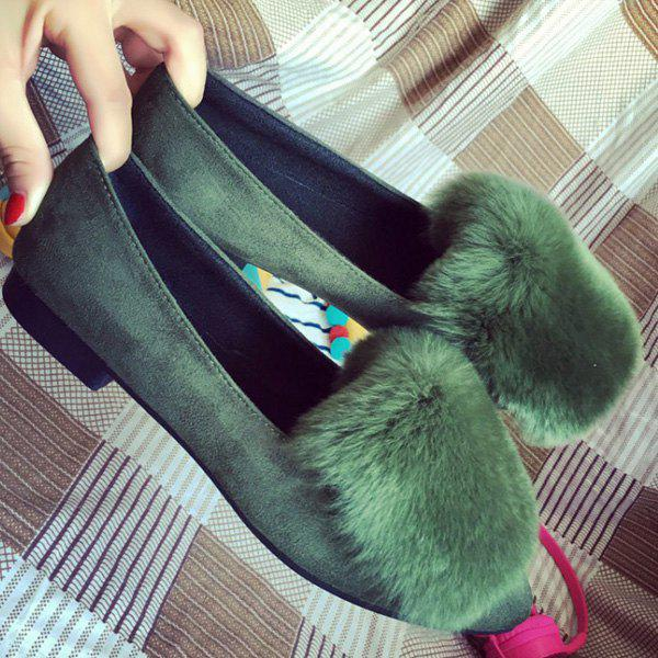 Furry Pointed Toe Flat Shoes - GREEN 39