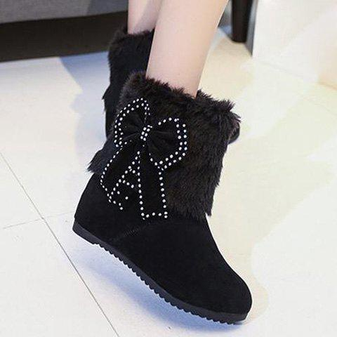SHOWHOW Womens Snow Hidden Wedge Heel Fluffy Fur Pull On Ankle High Boots