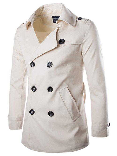 Back Vent Belted Epaulet Design Trench Coat two tone belted trench coat